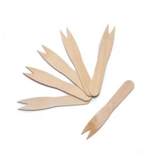 Disposable wooden chip fork