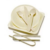 wood plate and cutlery